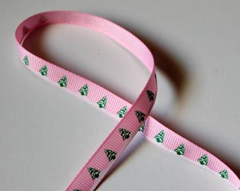 Pink Ribbon grosgrain Ribbon 10mm - Christmas tree winter forest - background - sewing Scrapbooking card making-