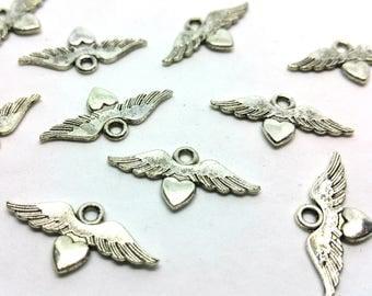 x 1 winged heart charm - love, Love, romantic - silver - jewelry customization