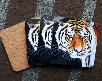 Tiger coasters, tiger print, cork back coasters, set of coasters, coasters for drinks, animal prints, animal art, nature prints, nature art
