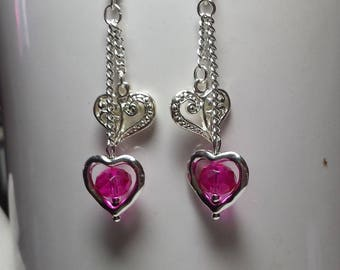 Duet of hearts fuchsia crystal earrings