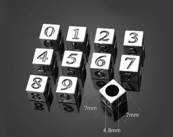 4Groups 7mm Antique Silver Big Hole Numbers Beads Alloy Pendants Setting Jewelry Metal Findings Handmade Supplies Wholesale YZ-14066