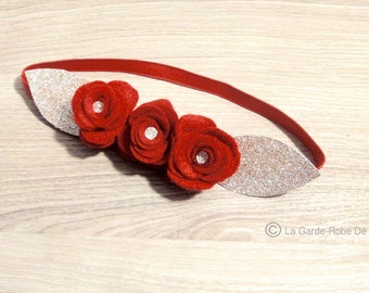Headband/headband flower felt red and gold.