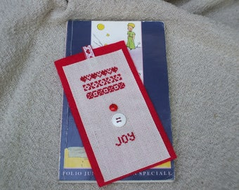 Bookmark with embroidery and buttons