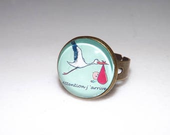 pretty ring glass cabochon, humour baby pattern, Stork, attention coming, glass cabochon, designer jewelery