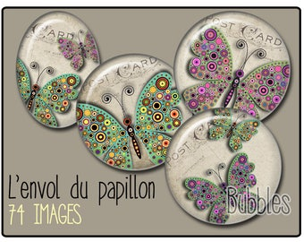 Butterflies Printable Images Digital Collage Sheet for Jewelry Making - Digital collage sheets