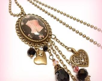 "Retro glass Cabochon necklace ""Corset lace roses"""