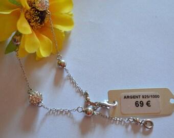 Beads shamballa bracelet in silver