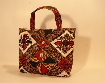 Bag red and yellow African wax fabric
