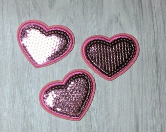 Pink heart patch, iron on patch