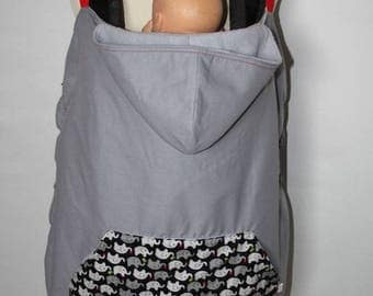 Universal carrying cape cover gray with elephants
