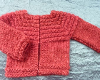 baby Cardigan 3 month red currant wool mohair hand-made