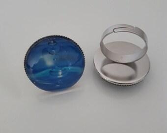 Rain drop blue silver ring