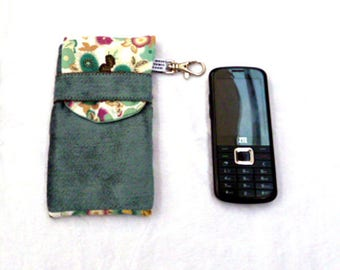 cotton velvet with lobster clasp and small phone case