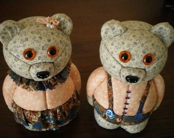 polystyrene bear inlaid patchwork fabric