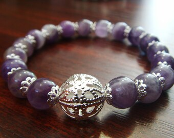 Amethyst Bracelet, 10mm Chevron Amethyst Bracelet, Amethyst Beads Bracelet, Amethyst Jewelry, Amethyst Stone Bracelet, Purple Amethyst
