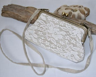 Bag shabby chic lace and fabric cotton linen, with removable shoulder strap and metal clasp