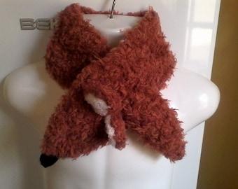 Hand knit girl Fox scarf