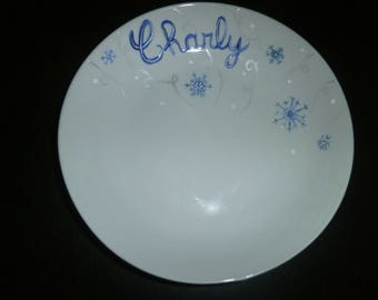 custom painted plate snowflake blue shimmer, white & silver