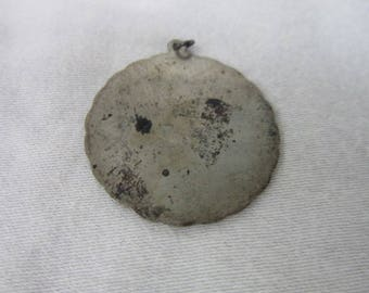 Antique Sterling Silver Disc Charm or Pendant
