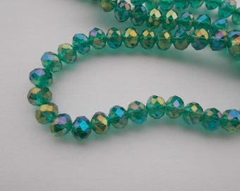 1 set of 20 8 x 6 mm Emerald color faceted Crystal beads