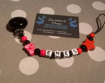Personalized with name star red and black cars car pacifier pacifier