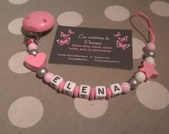 Pacifier clip personalized with name heart silver plated rose star lollipop pink clear white