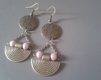Medal and a half moon bronze ethnic earrings