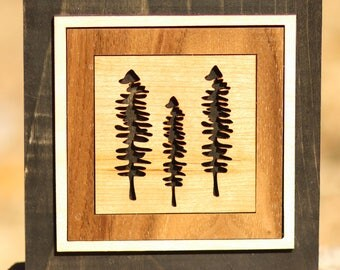 3 Trees Laser-cut Wood Art Block
