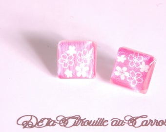 Cherry blossoms, white and pink ear studs