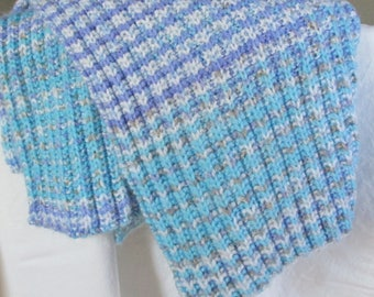 Ribbed very soft knit handmade baby blanket