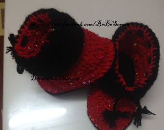 Boots on the reverse red and black sequined crochet