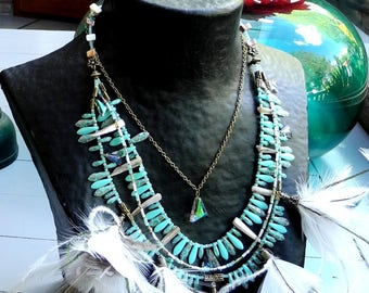 Necklace MULTISTRAND turquoise beads, Crystal, natural feathers flowers