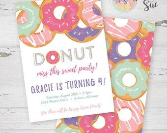Donut Girl Birthday Party Invitation  Printable Invitation