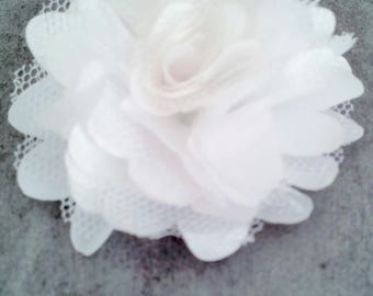 Pretty white organza and tulle fabric flower