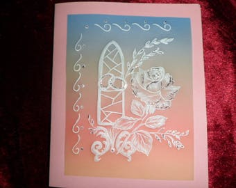 wedding invitation design rose and its rings