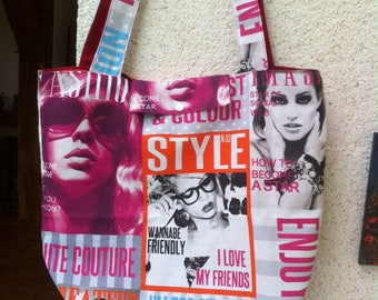 Big bag style tote bag fabric(tissue) representing the 60s