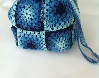 Blue degraded bag in the hook completely hand-made