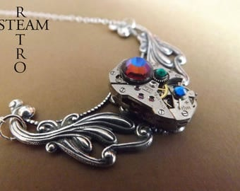 Clockwork Pendant & Meridian Blue crystals Swarovski - jewelry by Steamretro-Steampunk