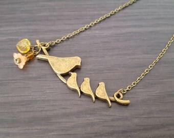 Orange bird branch necklace