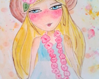 """Watercolor """"Miss Lady"""" you give absolutely!"""