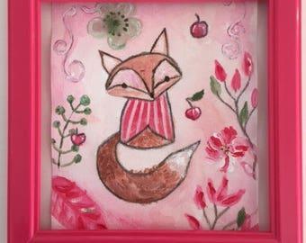 "For girl nursery artwork: ""Fox and flowers"""