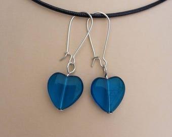 Earrings blue glass heart, Valentines Day gift idea