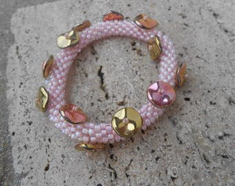 "Bracelet with seed beads and ripple ""sweet pink"""