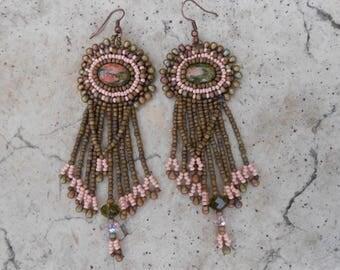 """Embroidered """"Erlinda"""" unakite earrings"""