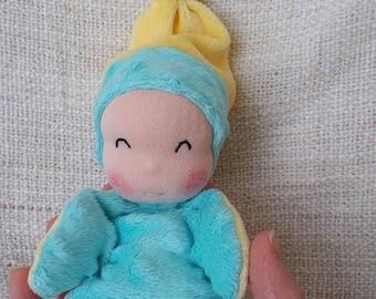 """""""titpoupidou"""" yellow and turquoise baby blanket"""