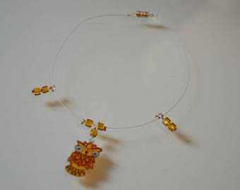 Yellow OWL necklace with shrink plastic.