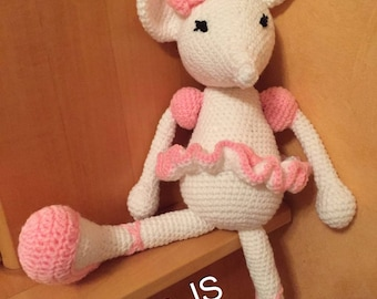 Cuddly plush toy mouse ballerina pink handmade crochet in acrylic wool and cotton