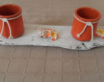 fired earth orange duo table candle holder