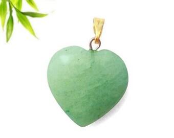 Heart pendant plated gold - aventurine