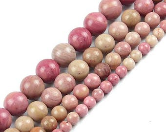 6 x 15 mm rhodonite round bead